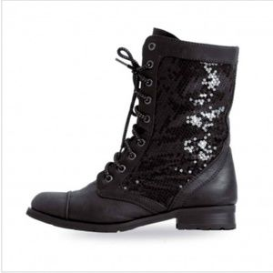 Gia Mia Sequins Combat Boots
